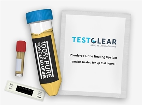 testclear powdered urine kit with temperature scale
